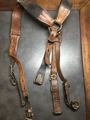 Original German WW2 RBnr Marked Combat Leather Y-straps No Reserve!