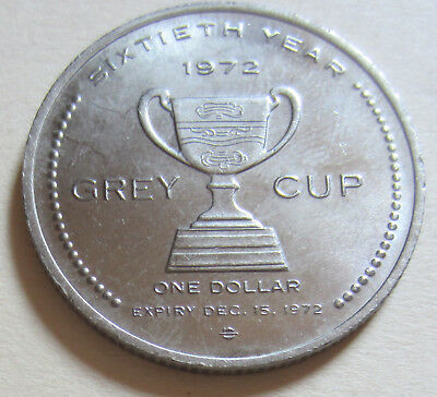 1972 60th Anniversary of Canadian Football GREY CUP One Dollar Coin. UNC (K20-7)