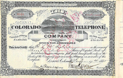 1885 Colorado Telephone 300 Shares Charles L Mcintosh Denver Henry Wolcott Sign