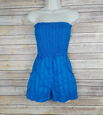 OP juniors blue strapless torquoise romper with pock, size Medium 7/9