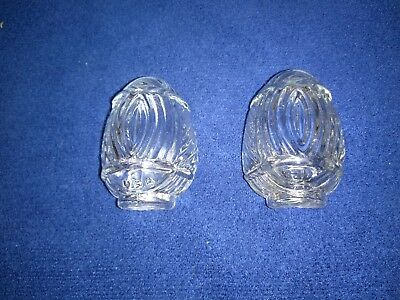 (PAIR) CLEAN Vtg/Ant style Art Deco Clear Glass Bird Cage Feeder/Water Cups USA