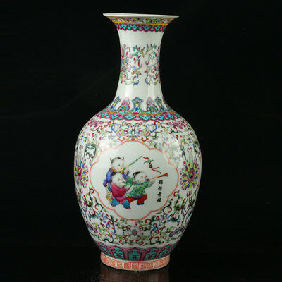 China Pastel Porcelain Hand Painted  Vase Mark  As The Qianlong   R1071.a