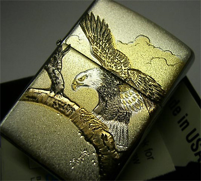"""Zippo lighter Collectible Japanese pattern Design """"Hawk Falcon"""" from JAPAN RARE!"""