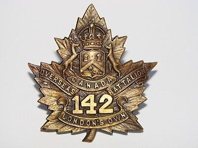 "Canada WW1 CEF Cap Badge The 142nd Battalion ""Londons Own"""