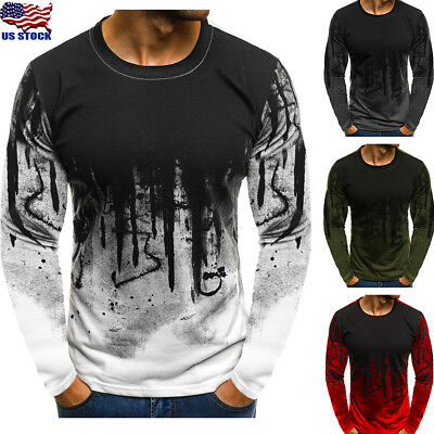 Men's Slim Fit O Neck Long Sleeve Muscle Tee Shirts Casual T-shirt Tops Blouse w