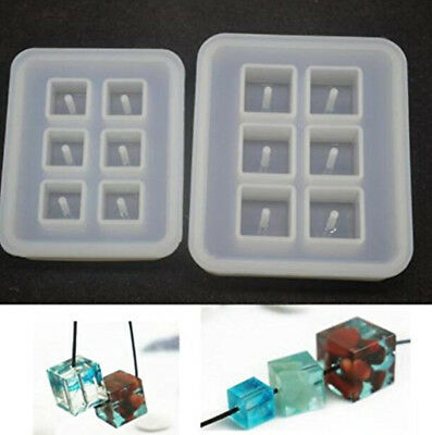 2pcs Cubic Design Silicone Bead Molds with Holes Square Resin for DIY Jewelry