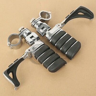 """1 1/4"""" Chrome Switchblade Foot Pegs & Clamps For Harley Touring Softail Dyna FL"""