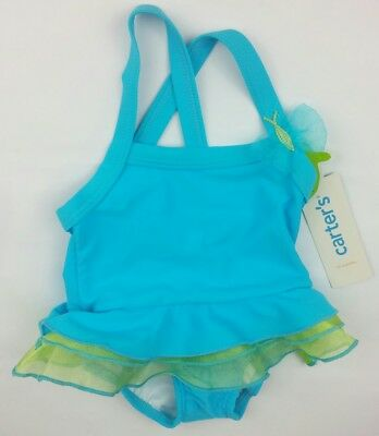 NWT Carter's Baby Girls' Ruffled Swimsuit turquoise butterfly 12mo