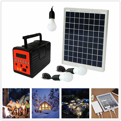 Emergency Solar Generator Lighting System Kit 12V 10W with Solar Panel USB Lamps