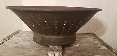 Vintage Antique primitive FRIES Punched Tin Colander Sieve Late Early 1900's?