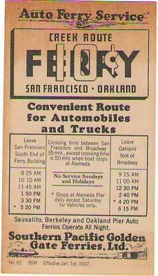Southern Pacific Golden Gate Ferries San Francisco-Oakland timetable 1-1-1937