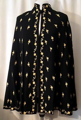 Vintage Womens Embroidered Cape Hip Length One Size Black with Yellow Flowers