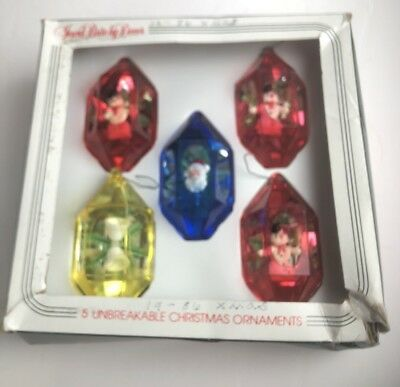 Vintage Set of 5 Colorful Plastic Jewelbrite Christmas Ornaments in Original Box