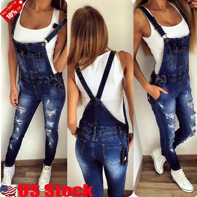 Summer Women Straps Jumpsuit Denim Jeans Bib Pants Overalls Rompers Trousers USA