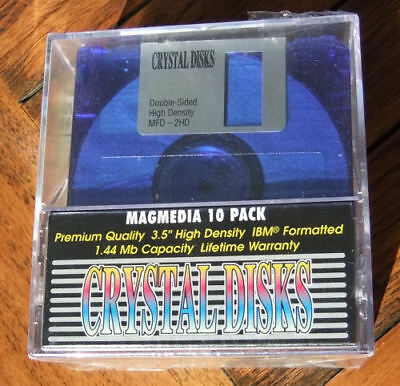 """Magmedia - 3.5"""" HD IBM Formatted - 5 Crystal Colours - 10 Pack; Factory Sealed!"""