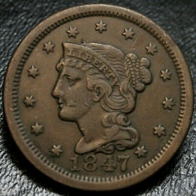 1847 Braided Hair Large Cent XF/AU 1C Early Copper Type Coin