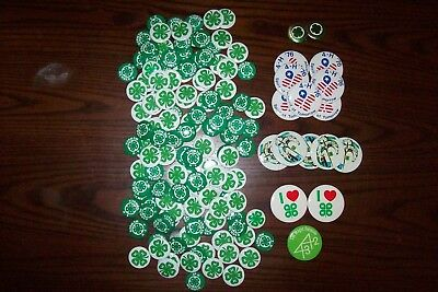 Big Lot 150 4H 4-H Buttons Pins Various Sizes