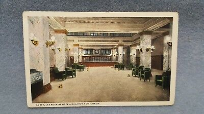 Postcard OKLAHOMA CITY OK  Lee-Huckins Hotel Lobby Interior View