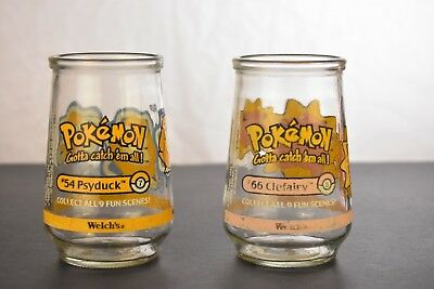 """2 1999 WELCHES POKEMON #7, #8 Pysduck & Clefairy 4"""" COLLECTABLE GLASS Jelly Jars"""