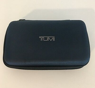 Tumi for Delta Airlines Travel Amenity Blue Hardcase Toiletry Bag Airplane Kit