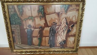Walling Wall with people praying embroidered picture under glass in bronze frame