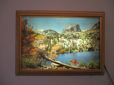 "Vintage 1950S Helmscene 23"" X 15"" Bear Lake Colorado Light Up Picture Scene"