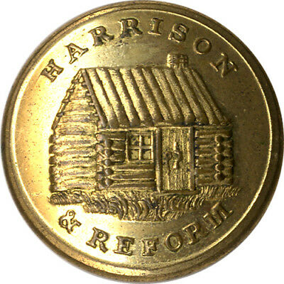 1840 William Henry HARRISON & REFORM Log Cabin Clothing Button ~ WHH 1840-63