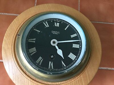 British submarine clock with bespoke wooden surround - Smiths Astral movement