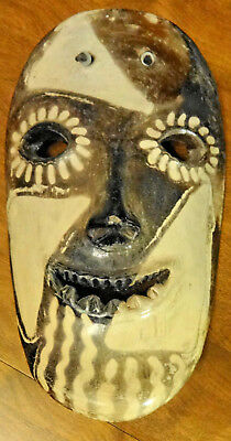 """VTG Hand Carved & Painted Stone HONDURAS MASK  @1970's Primative Art 12"""" x 7"""""""