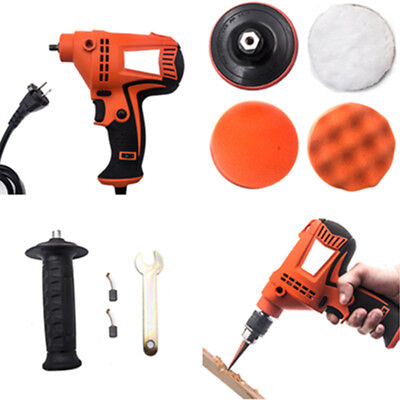 220V 800W Electric Polisher Drill Machine Car Tools Kit w/ Unibit Buffing Pads