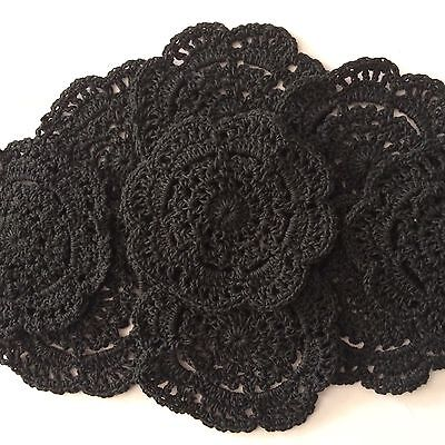10 X  Bulk New 10 Cm Black Crochet Lace Doilies
