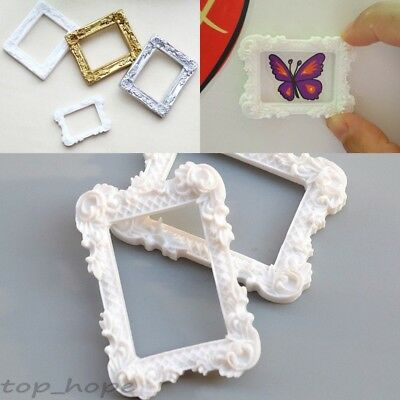 Vintage White / Gold Picture Frame Resin Effect Hand Carved Flower Photo Frames