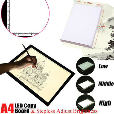 A4 LED Tracing Light Box Board Adjustable Brightness Art  Stencil Display New