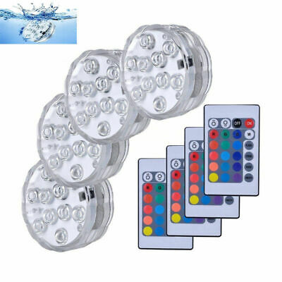 4x Submersible LED Under Water Lights Remote Control Pool Fountain Swimming Lamp