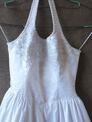 Forever Yours Wedding Dress Halter A Line Pearls Sequins Size 12 Layers