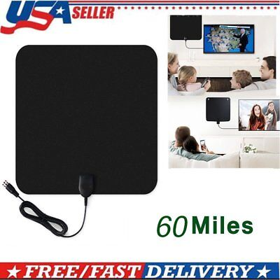LOT Ultra Thin Flat Indoor HDTV Amplified HD TV Signal Antenna 16FT Coax 60Mile