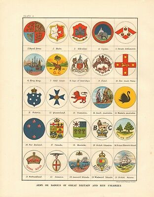 1897 Antique Map- Johnston - Arms Of Great Britain And Her Colonies