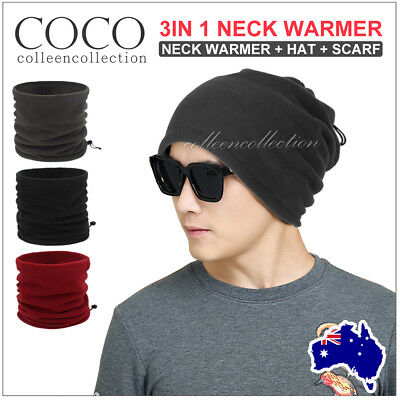Men Women's Winter Fleece Snood Scarf Neck Warmer Thermal Ski Beanie Hat Cap AU
