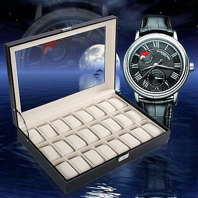 10/24 Slot Watch Box Leather Display Case Organizer Top Glass Jewelry Storage