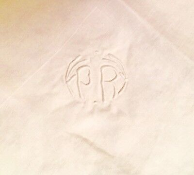 Vintage White French Linen Tablecloth And 3 Napkins All Monogrammed
