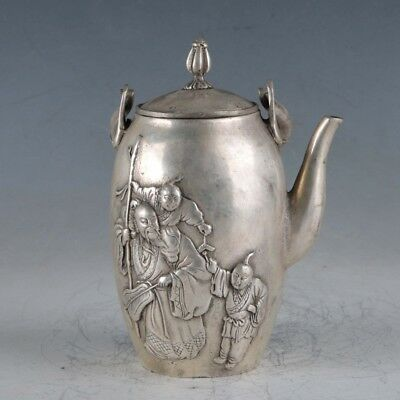Chinese Silvering Copper The Old&The Young Teapot Made During TheDaMing Xuande.a