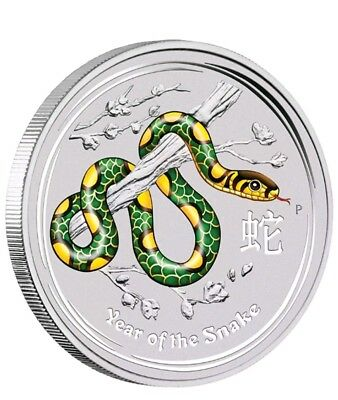 Perth Mint Australia 2013 Green Coloured Snake 1 oz .999 Silver Coin Lunar Rare