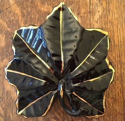 Large Black & Gold Leaf Wall Pocket Vase -22kt Gold Trim- 16cm X 16cm