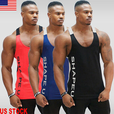 US Gym Mens Muscle Sleeveless Tank Top Tee Shirt Bodybuilding Sport Fitness Vest