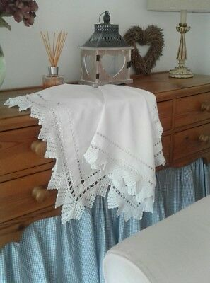 PURE Irish linen tablecloth deep lace trim wedding/tea party french  chic look!