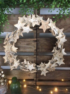 Rustic Birch Bark Wooden Star Wreath Natural Hanging Chic Christmas Decoration