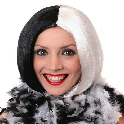 IL HALLOWEEN Half BLACK WHITE Bog Wig Villain Character Fancy dress costume 2161