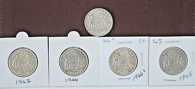 Australian Florins- 1942s, 1943s, 1944s, 1944s and 1945 in excellent condition