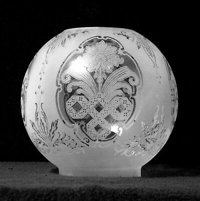 Clear Etched Internal Ribbed Art Nouveau Kerosene Oil Lamp Globe Ball Shade