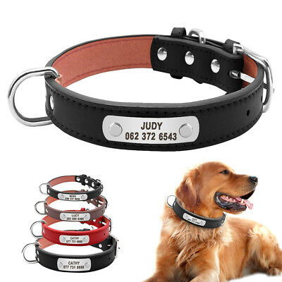 Soft Leather Personalized Dog Collars With D-ring Dog Name Plate Engraved S M L